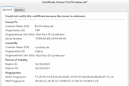 Test if certificate is correctly installed in keystore   It`s full ...