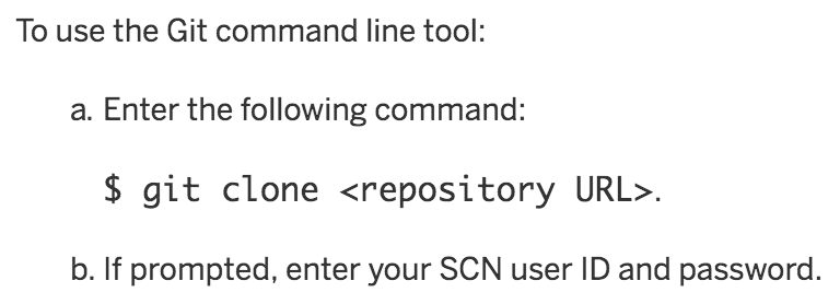 Clone a SCP git repository from command line | It`s full of
