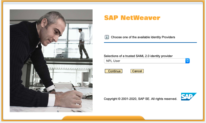 SAP NetWeaver Logon screen